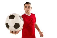 Fundo branco isolado do jogador de futebol do futebol profissional Fotos de Stock Royalty Free