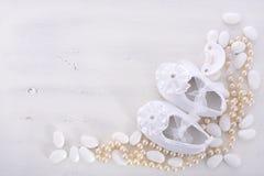 Fundo branco neutro da festa do bebê Imagens de Stock