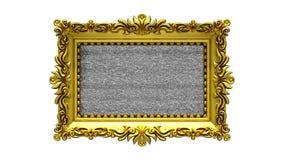 Fundo branco O ruído da tevê e o croma verde fecham jogos na tela na moldura para retrato ornamentado do ouro introdução 3d anima ilustração royalty free