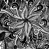 Fundo branco preto monocromático preto & branco do teste padrão da garatuja do zentangle Fotos de Stock Royalty Free