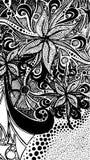 Fundo branco preto monocromático preto & branco do teste padrão da garatuja do zentangle Imagem de Stock