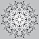 Fundo branco preto monocromático redondo do círculo da mandala Imagem de Stock