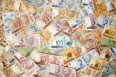 Fundo brasileiro do dinheiro Imagens de Stock Royalty Free