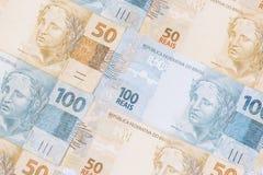 Fundo brasileiro do dinheiro As contas chamaram Real Foto de Stock