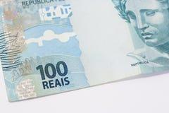 Fundo brasileiro do dinheiro As contas chamaram Real Imagens de Stock Royalty Free