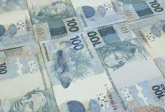 Fundo brasileiro do dinheiro As contas chamaram Real Fotografia de Stock