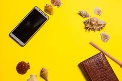 Fundo brilhante amarelo com decora??o n?utica imagens de stock royalty free