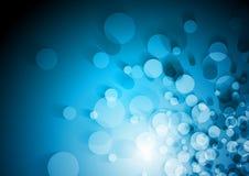Fundo brilhante azul abstrato do conceito dos círculos ilustração do vetor