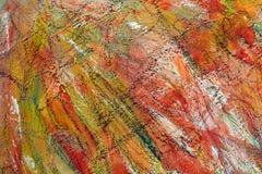 Fundo brilhante colorido Os cursos da pintura pontos alaranjados na lona imagem de stock royalty free