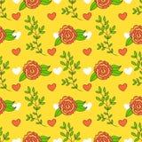 Fundo brilhante com flores e folhas Papel de parede do verão dos desenhos animados O teste padrão sem emenda pode ser usado para  Fotos de Stock Royalty Free