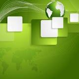 Fundo brilhante da tecnologia com globo e quadrados Fotos de Stock