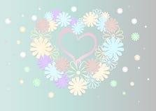 Fundo brilhante de flores coloridas sob a forma de um coração Imagem de Stock Royalty Free