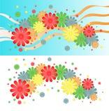 Fundo brilhante de flores e de fitas multi-coloridas Fotografia de Stock Royalty Free