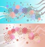 Fundo brilhante de flores e de fitas multi-coloridas Fotografia de Stock