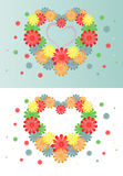 Fundo brilhante de flores multi-coloridas sob a forma de um coração Fotos de Stock