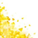 Fundo brilhante de luzes e de corações dourados Fotos de Stock Royalty Free