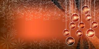 Fundo brilhante do inclinação das bolas do Natal alaranjado fotografia de stock royalty free
