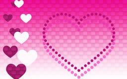 Fundo brilhante do rosa e o branco do inclinação com corações ilustração royalty free