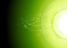 Fundo brilhante do vetor do verde do sumário da olá!-tecnologia Imagem de Stock Royalty Free