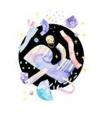 Fundo brilhante: formas abstratas, tiragem dos elementos mínimos geométricos inspirados pelo espaço, estrelas, planetas ilustração royalty free