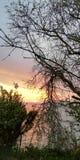 Fundo brilhante pitoresco Lscape de nivelamento marinho do por do sol em cores vermelhas, cor-de-rosa, azuis, roxas através dos r fotografia de stock