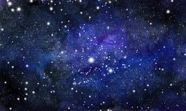 Fundo cósmico Galáxia ou céu noturno colorido da aquarela com estrelas ilustração stock