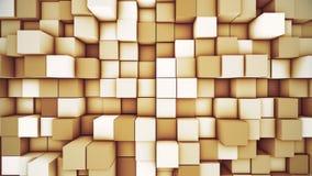 Fundo cúbico moderno abstrato Ilustração alaranjada do movimento 3D do cubo ilustração stock