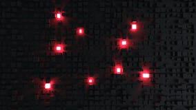 Fundo cúbico preto do sumário - incandescência vermelha dos cubos ilustração do vetor