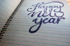 Fundo caligráfico do ano novo feliz Fotografia de Stock Royalty Free