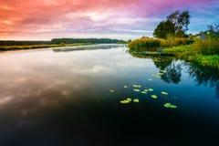 Fundo calmo da natureza do rio Imagem de Stock