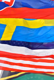 Fundo caracterizado composto por bandeiras nacionais diferentes imagem de stock royalty free