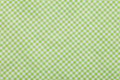 Fundo Checkered verde do tablecloth Fotografia de Stock Royalty Free