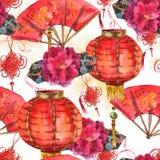 Fundo chinês do ano novo da aquarela sem emenda