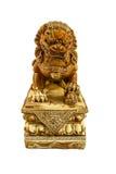 Fundo chinês do branco do isolado da estátua do leão Fotografia de Stock Royalty Free