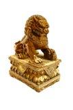 Fundo chinês do branco do isolado da estátua do leão Imagens de Stock Royalty Free