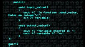 Fundo ciano do texto do código do programa de C++ video estoque