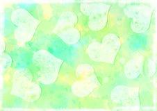 Fundo ciano e limão Textured do Watercolour dos corações ilustração royalty free