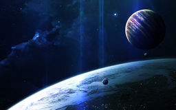 Fundo científico abstrato - planetas no espaço, na nebulosa e nas estrelas Elementos desta imagem fornecidos pela NASA da NASA go Fotos de Stock