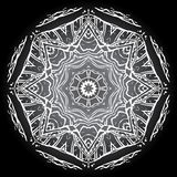 Fundo cinzento branco preto monocromático da mandala Fotos de Stock