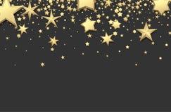 Fundo cinzento com estrelas do ouro Imagem de Stock Royalty Free