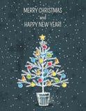 Fundo cinzento com árvore de Natal, vetor Fotos de Stock Royalty Free