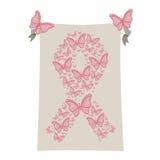 fundo cinzento com símbolo do rosa da fita do câncer da mama com butterflys Foto de Stock Royalty Free