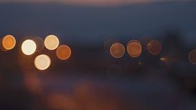 Fundo circular abstrato da cidade da noite do bokeh Fotografia de Stock