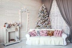 Fundo clássico do interior do White Christmas Imagens de Stock