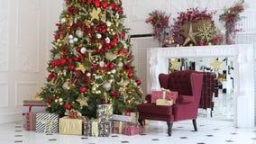 Fundo clássico do interior do White Christmas vídeos de arquivo