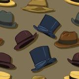 Fundo clássico sem emenda do teste padrão dos chapéus do vetor Foto de Stock Royalty Free