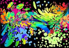 Fundo colorido abstrato da tampa do respingo no preto Imagens de Stock Royalty Free