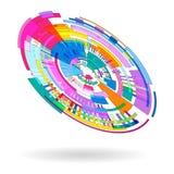Fundo colorido abstrato do radial 3 D dos pontos e de formas geométricas ilustração royalty free