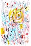 Fundo colorido abstrato tirado por marcadores e por penas Esboço feito com garranchos, marcador, cursos da garganta ilustração royalty free