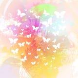 Fundo colorido bonito da mola com as borboletas no watercol Fotos de Stock Royalty Free